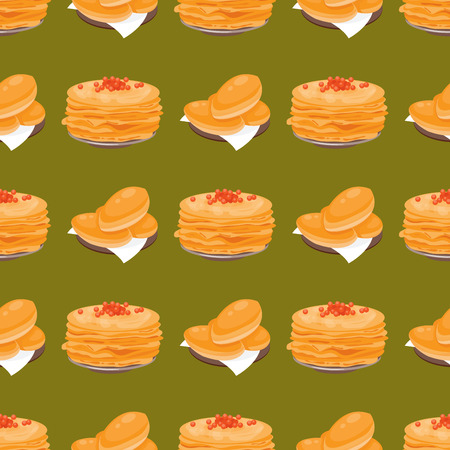 Traditional Russian pancake cuisine seamless pattern dish course food gourmet national meal vector illustration.