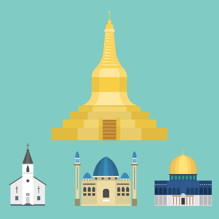 Cathedral church temple traditional building famous landmark tourism vector illustration Stok Fotoğraf - 80535141