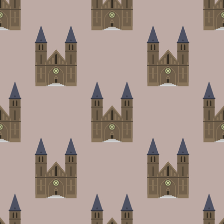 Cathedral church temple traditional building seamless pattern famous landmark tourism vector illustration