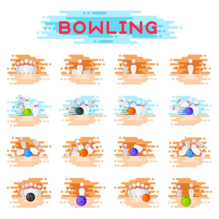 Il kegling della palla e dei birilli di kegling di bowling che si schiantano le combinazioni del gioco che schizzano l'illustrazione di vettore Archivio Fotografico - 80535216