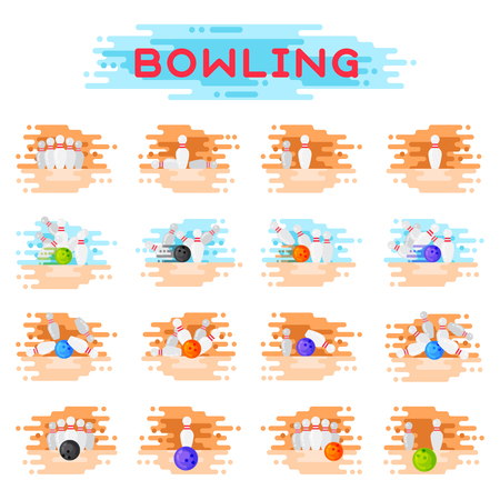 Bowling kegling ball and skittles ninepins crashing game combinations kegling vector illustration