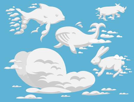Animal clouds silhouette pattern vector illustration abstract sky cartoon environment natural ornament