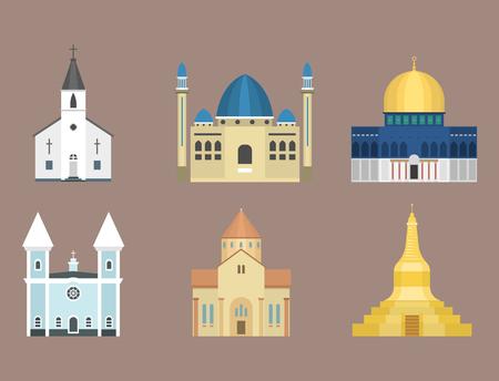 Cathedral church temple traditional building famous landmark tourism vector illustration Banco de Imagens - 80535224