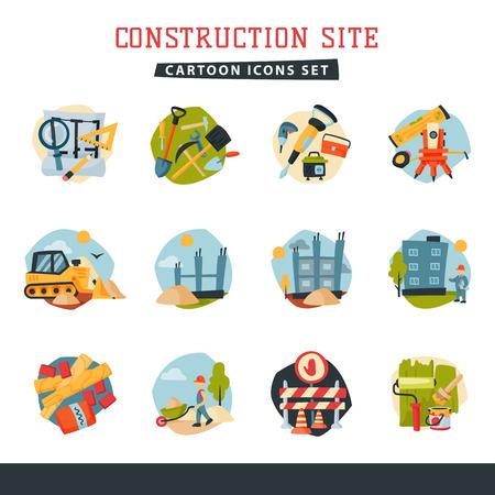 工事中建物の開発者ウェブサイト アイコン コレクション ベクトル図を設定