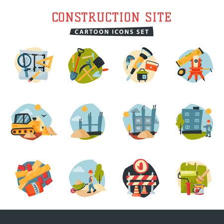 Under construction building developer website icons set collection vector illustration Фото со стока - 80535225
