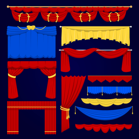 Theather scene red, blue and yellow blind curtain stage fabric texture isolated on a white background illustration Illustration