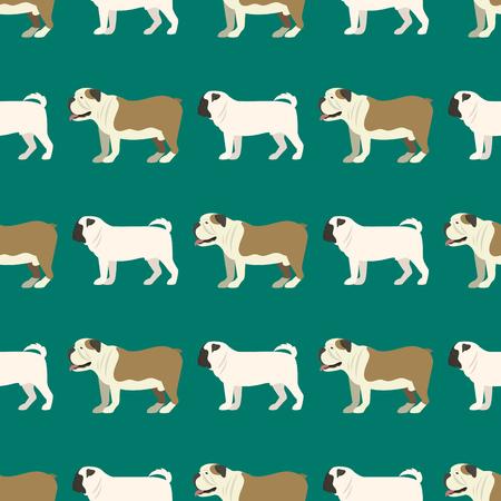재미 있은 만화 불독 강아지 캐릭터 빵 원활한 패턴 강아지 애완 동물 동물 강아지 벡터 일러스트 레이 션.