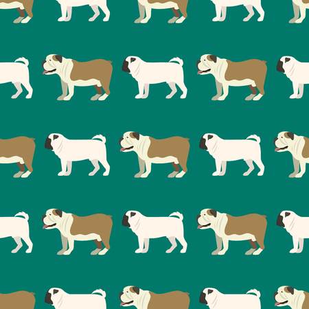 Funny cartoon bulldog dog character bread seamless pattern puppy pet animal doggy vector illustration. Stock fotó - 80535230