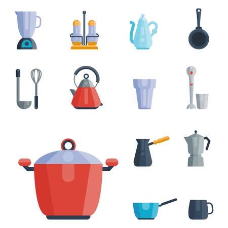 Kitchen utensils icons vector illustration household dinner cooking food kitchenware