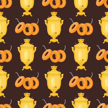 Background tea samovar russian traditional teapot seamless pattern cuisine bagel food boublik vector illustration