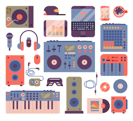 Hip hop or DJ accessory musician instruments breakdance expressive rap music disc jockey vector icons
