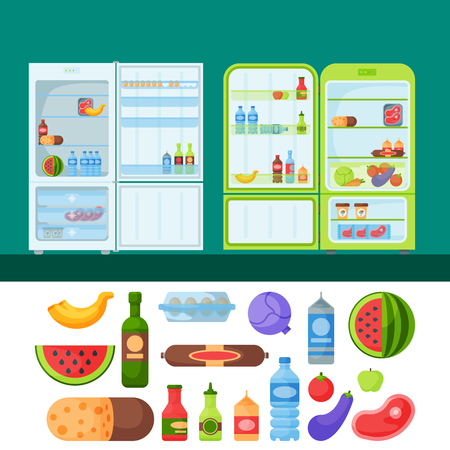 freeze: Refrigerator organic food kitchenware household utensil fridge appliance freezer vector illustration.