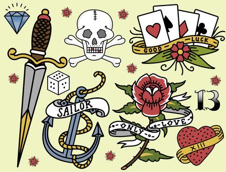 古い学校ヴィンテージ レトロなタトゥー インク アート スタイル手描き入れ墨シンボル伝統的なグラフィック描画ベクトル図  イラスト・ベクター素材