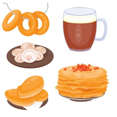 伝統的なロシア料理文化料理コース料理ロシア グルメ全国お食事ベクトル図へようこそ 写真素材 - 80709355
