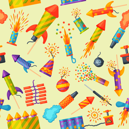 Fireworks rocket and flapper birthday party gift celebrate seamless pattern vector illustration background festival Иллюстрация