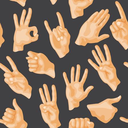 다양 한 손 제스처와 원활한 패턴 바보 원활한 패턴 배경 사람들이 통신 기호 기호 벡터 일러스트 레이 션.
