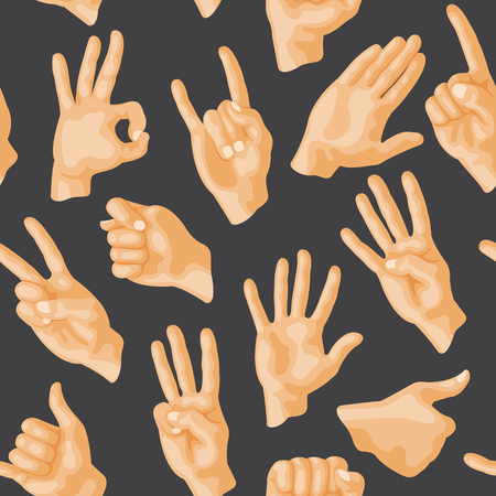 Seamless pattern with various hands gestures dumb seamless pattern background people communication sign symbols vector illustration. Ilustração