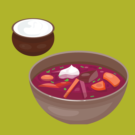 Russian national soup borscht cuisine and culture dish course food national meal vector illustration.
