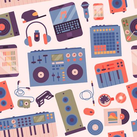 Hip hop or DJ accessory musician instruments breakdance expressive rap music disc jockey vector seamless pattern background