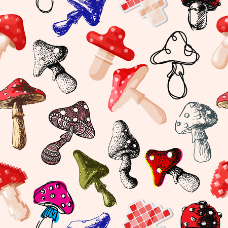 Amanita fly agaric toadstool mushrooms fungus different art style design vector illustration red hat seamless pattern background