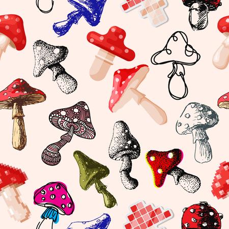 Amanita mosca funghi agarico funghi funghi diversa arte stile design illustrazione vettoriale cappello rosso seamless pattern background Archivio Fotografico - 80709454