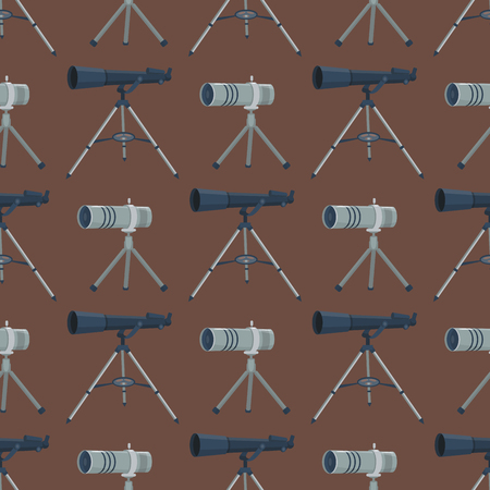 Professional seamless pattern telescope glass look-see spyglass optics device camera digital focus optical equipment vector illustration