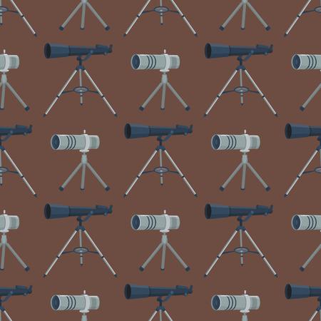 telescopic: Professional seamless pattern telescope glass look-see spyglass optics device camera digital focus optical equipment vector illustration