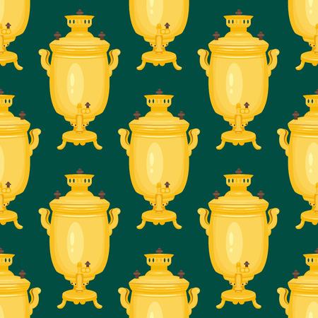 배경 러시아 전통 차 찻 주전자 원활한 패턴 요리 베이글 음식 boublik 벡터 일러스트 레이션 스톡 콘텐츠