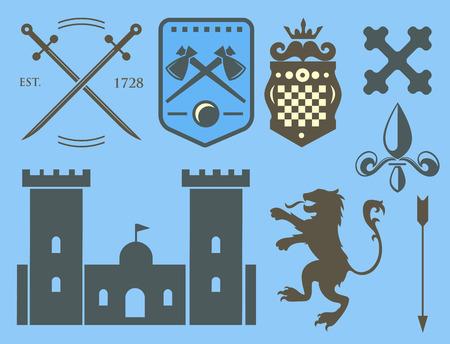 Heráldica real cresta medieval caballero elementos vintage rey símbolo heráldica castillo insignia ilustración vectorial Foto de archivo - 80779442