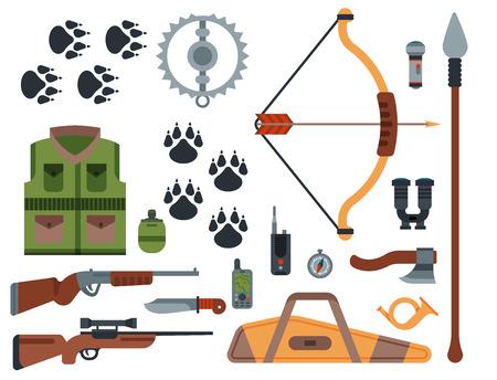 Armes de chasse et symboles éléments de conception illustration de vecteur d'animaux sauvages de chasseur de style plat. Banque d'images - 80779444