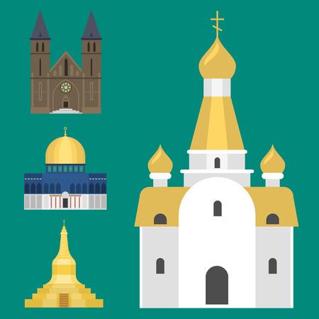 大聖堂教会寺院伝統建築の有名なランドマークの観光ベクトル図