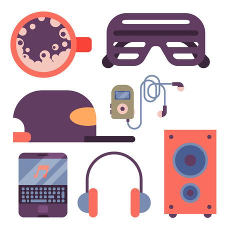 Hip Hop Zubehör Musiker Instrumente Breakdance expressive Rap Musik DJ Vektor Illustration. Standard-Bild - 80786701