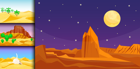 Desert mountains sandstone wilderness landscape background dry under sun hot dune scenery travel vector illustration. Banco de Imagens - 80786719