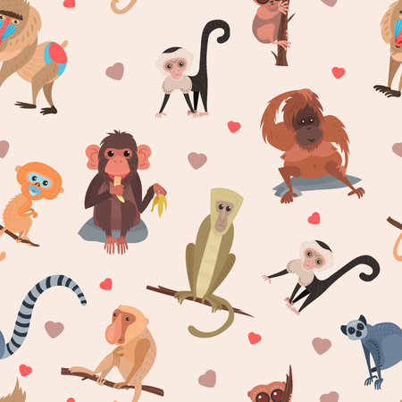 Different cartoon monkey breed character animal wild zoo cute ape chimpanzee vector illustration seamless pattern background