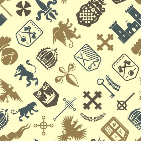Héraldique, lion, royal, crête, moyen-âge, chevalier, silhouette, vendange, seamless, modèle, roi, héraldique, vecteur, illustration Banque d'images - 80786857