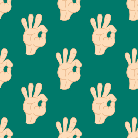 okey: Ok hands success gesture okey yes agreement signal seamless pattern human agree best approval vector. Illustration