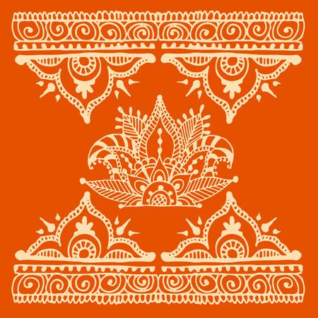 ヘナタトゥー茶色 mehndi 花落書き装飾装飾的なインディアン デザイン パターン ペイズリー アラベスク mhendi 装飾ベクトル。  イラスト・ベクター素材