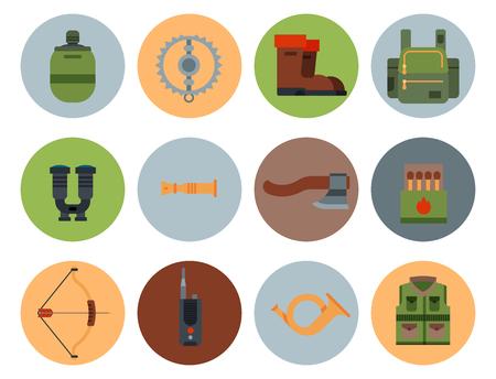 Armes de chasse et symboles éléments de conception illustration de vecteur d'animaux sauvages de chasseur de style plat. Banque d'images - 80786898