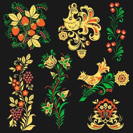 Vector khokhloma pattern design traditional Russia drawn ethnic flower ornamen illustration