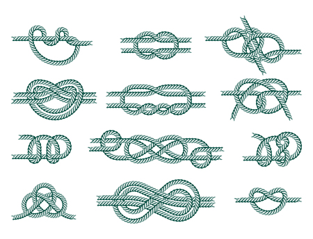 Sea boat rope knots vector illustration isolated marine navy cable natural tackle sign Stock Vector - 80786901