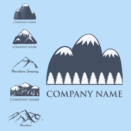 snow climbing: Mountain vector silhouette nature outdoor rocky snow ice top decorative landscape travel climbing hill peak hiking illustration