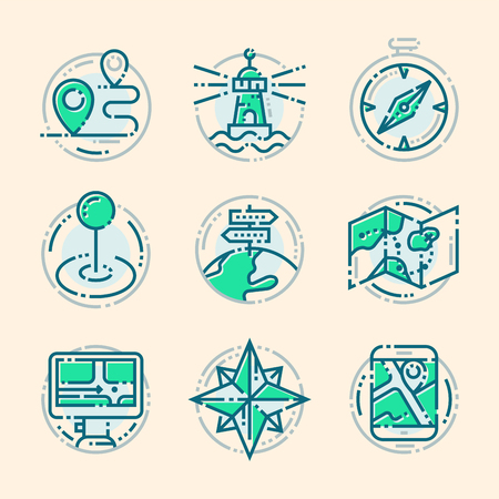 Navigation direction maps sign traffic and more thin line icons set vector illustration Illustration