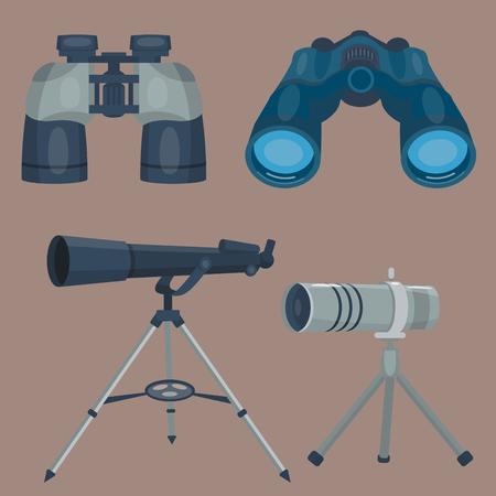 nightvision: Professional camera lens binoculars glass look-see spyglass optics device camera digital focus optical equipment vector illustration