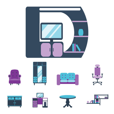 Furniture interior icons home design modern living room house comfortable apartment vector illustration Illustration