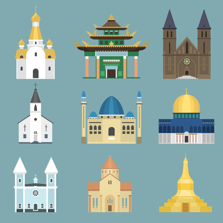 Cathedral church infographic traditional temple building landmark tourism vector illustration. World religions history place historic famous christianity monument. Stok Fotoğraf - 80839398