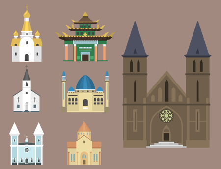 Illustrazione tradizionale infographic di vettore di turismo del punto di riferimento della costruzione del tempio della chiesa della cattedrale. La storia delle religioni mondiali celebra il famoso monumento del cristianesimo. Archivio Fotografico - 80839399