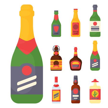De alcohol drinkt van de de whiskyfles van de drankencocktail de container van de het lagerbierverspering en menu gedronken concept verschillende glazen vectorillustratie. Restaurant tequila rum feestcafé cognac. Stockfoto - 80839406
