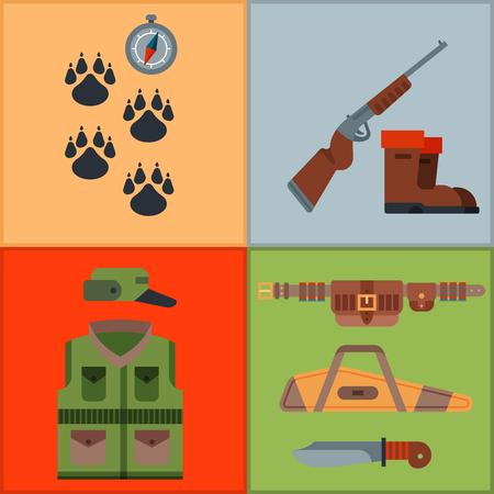 Armes de chasse et symboles éléments de conception illustration de vecteur d'animaux sauvages de chasseur de style plat. Banque d'images - 80839606