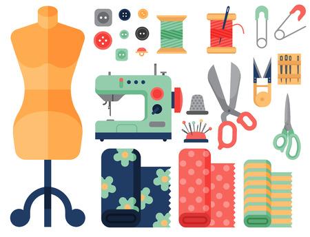 Draad benodigdheden accessoires naaimachine tailoring mode pin handwerk naaldwerk vector illustratie.
