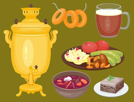 Traditionelle russische Küche Kultur Gericht natürlich Essen willkommen in Russland Gourmet nationalen Mahlzeit Vektor-Illustration Standard-Bild - 80839619